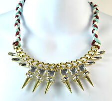 LADIES CHUNKY GOLD SPIKED DIAMANTE NECKLACE STUNNING (ST33)
