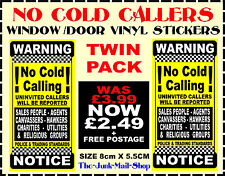 (Black & Yellow) - No Cold Callers Signs - Twin Pack - FREE POSTAGE -