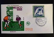 MONACO PREMIER JOUR FDC YVERT  PA92    J-O MEXICO , HOCKEY      3F    1968