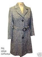New Ladies Black & White Wool Mix 3/4 Length Coat Size 18