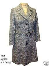New Ladies Black & White Wool Mix 3/4 Length Coat Size 18
