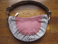 SPECIAL AUTHENTIC BERGE ITALIAN PINK LEATHER PONY CALF HAIR HANDBAG PURSE SNAKE