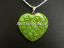 MILLEFIORI Murano Flower Glass 30mm HEART Lime Yellow Pendant Necklace Jewellery