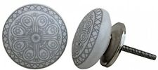 Drawer Pulls & Knobs Ceramic & Metal Grey Handmade Designer Silver Finish Set 12