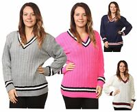 Ladies Cable Knitted V Neck Acrylic Cricket Cardigans Jumpers Tops Plus Sizes