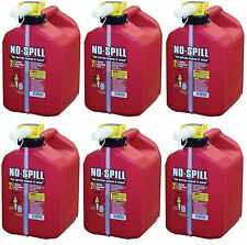 Lot of 6 No-Spill 1405 2-1/2-Gallon Poly Gas Can (CARB Compliant) RED 2.5 Gal