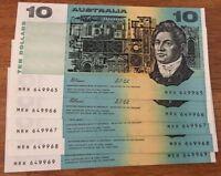 1991 AUSTRALIAN $10  Notes 5 Cons UNC SERIAL NO. MRH 649965 TO MRH 649969