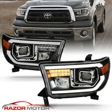 For 2007-2014 Toyota Tundra/Sequoia Square Projector Black Headlights (Fits: Toyota)