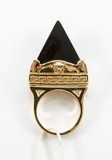 VERSACE Gold plated w/ Pyrmaid Black Onyx Medusa Ring size 13 / 6 3/4  $450