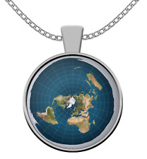 Flat Earth necklace - Flat earth symbol chain pendant- Flat earther perfect gift