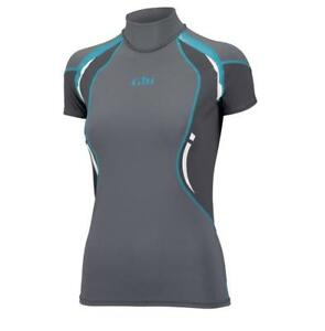 Gill Women's Short Sleeve UV Rash Guard Vest Swimwear Ash Gray