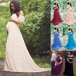 Women Pregnancy Photography Photo Shoot Off Shoulder Maternity Party Maxi Dress