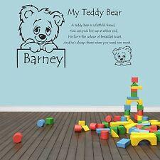 Personalised, Nursery Rhyme Teddy Bear Poem Wall Art Decal Sticker boys,girls