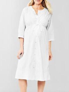 Gap Maternity Medium White Three-quarter Sleeve Seersucker Lined Shirt Dress NWT