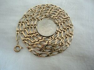 Superb Vintage Heavy 375  9ct Gold Long Figaro Chain Necklace 8.58 g