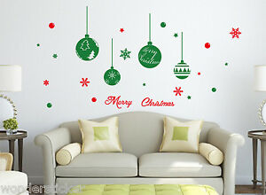 Christmas Special Balls & Snowflakes Art Vinyl Wall Sticker/Decal- REMOVABLE