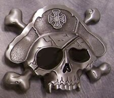 Pewter Belt Buckle novelty Pirate Skull NEW