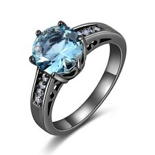 Lady's Jewelry Round Cut Aquamarine Black 10KT Gold Filled Wedding Rings Size 6