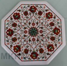 Coffee Table Top White Marble Inlay Pietra Dura Handmade Vintage Modern Side End