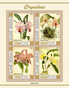 Guinea-Bissau - 2021 Orchids, White Nun, Easter - 4 Stamp Sheet - GB210101a