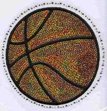 Iron On Transfer Applique Rhinestone and Sequin Orange Basketball