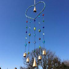 NUOVA Grande Con Perline Amore Cuore e campanelli in metallo scacciapensieri decorazione ARTE mobile