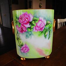 Limoges CACHEPOT Vase-Hand Painted Roses Gold Feet Handles-Artist Signed