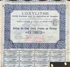 """"""" L' OXYLITHE """" APPLICATION DE L' OXYGENE SCRIPOPHILIE ACTION 1911"""