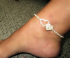 Heart Sexy Crystal Rhinestone Diva Love Anklet pick your style Georgous