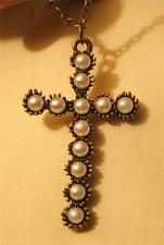 Pretty Fluted Rounds Sectioned Simulated Pearls Brasstone Cross Pendant Necklace