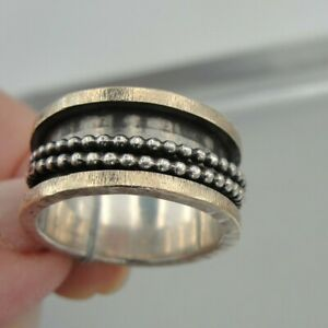 Hadar Designers Art Swivel 9k Yellow Gold Sterling Silver Ring 7.5, 8 (sp) SALE