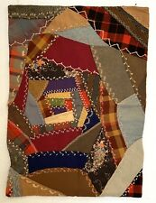 Antique Crazy Doll Quilt, Vintage c.1900, Maryland, Wool, Hand Embroidery