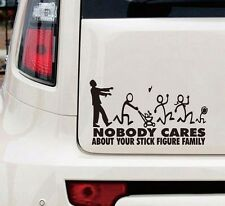 Zombie Stick Figure Family Nobody Cares  truck funny stickers car decal bumper