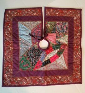 "VHC Christmas Quilted Mini Tree Skirt by Pradeep Kumar Cotton 18"" x 18"" Square"