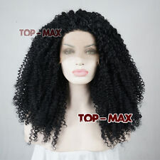 Basic Black Curly Long 24 Inches  Heat Resistant Women Lace Front Party Wigs