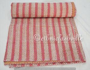 Indian Hand Block Print Cotton Coverlet Kantha Quilt Bedding Bedspread Striped