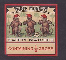 Ancienne   étiquette  allumettes Inde BN18773 Trois Singes 2