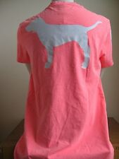 Victoria's Secret PINK Campus V-Neck T-Shirt Pocket Bright Coral Puppy Dog XS