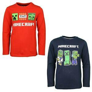 Minecraft Creeper Gamer Kinder langarm Shirt Gr. 116-152 Jungen Schwarz Rot