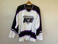 Vtg Indianapolis Ice Hockey Jersey Defunct L/XL Bauer Stitched Sewn Logo IHL 90s