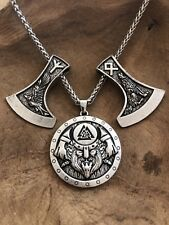 Axt Helm Wikinger  K16 Valknut Leder Runen Thorshammer Odin Asatru Fenris Raben