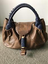 100% Authentic Large Brown Leather Braided Handles Fendi Spy Shoulder Bag