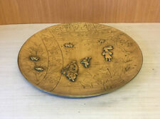More details for unusual antique chinese brass charger wall plate with applied figural decoration