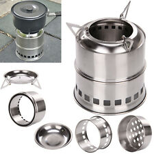 Outdoor Stove Camping Cooking Picnic BBQ Steel Wood Burner Alcohol Cooker UK