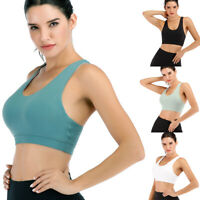 Women Seamless Shockproof Fitness Yoga Sports Bra Stretch Workout Crop Top Vest