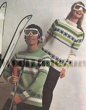 Vintage Knitting Pattern Mens & Womens Retro Ski/Fair Isle Jumpers.