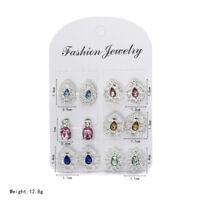 6Pairs/set Fashion Rhinestone Crystal Pearl Earrings Set Women Ear Stud Jewelry