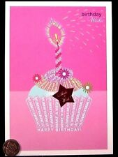 Happy Birthday Wishes - Cupcake Candle Make a Wish - Words Art Greeting Card NEW