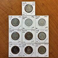 Lot of Ten (10) Canada 1960-2008 50 Cents Coins - UNC. & BRILLIANT UNCIRCULATED