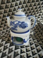 Mini Collectible Vintage Teapot & Candle Holder Set White Blue Home Decor